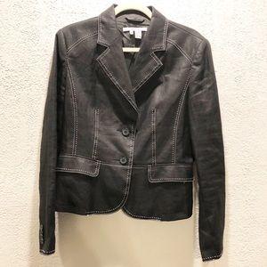 Zara Basic Black Blazer with white stitching